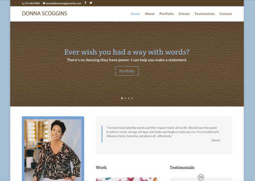 Donna Scoggins – Freelance Writer Website Redesign