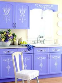 Painted and Stenciled Kitchen Cabinets - Hooked on Houses