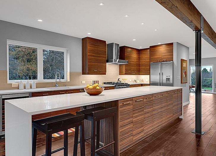Midcentury modern kitchen after  Hooked on Houses