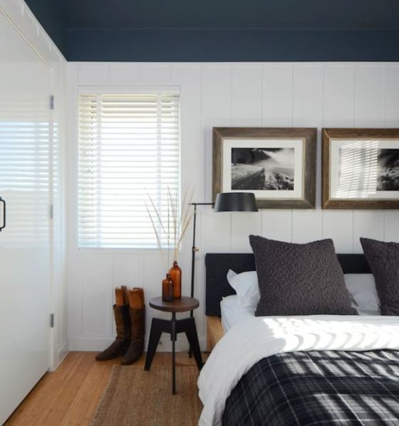 white walls grey ceiling bedroom blue bedroom plaid board and batten - Hooked on Houses