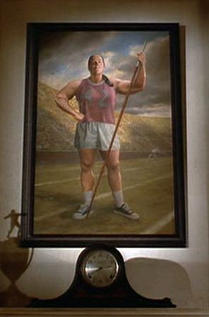 painting of Miss Trunchbull over the fireplace  Hooked on Houses