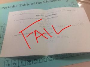 My Chem1 Quiz results