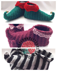 Crochet Patterns to Wear - Curly Toes Slippers