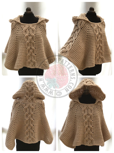Hooded Poncho Crochet Pattern - Milena