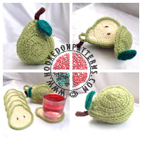 Crochet patterns for home - Sliced Pear Coaster Crochet Pattern