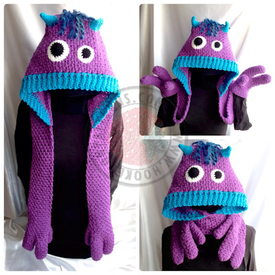 Kids scarf crochet pattern - Snuggle Monsters