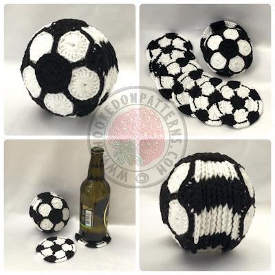 Soccer ball crochet pattern - coasters