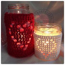 Heart Jar cover crochet pattern