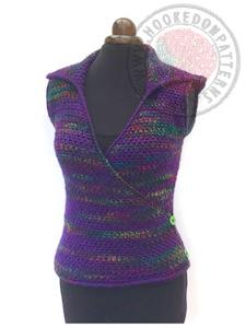 Kiko Cross Front Hooded Vest Crochet Pattern