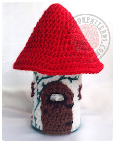 Toadstool fairy house jar crochet pattern