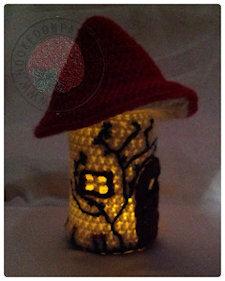 Toadstool fairy house jar crochet pattern