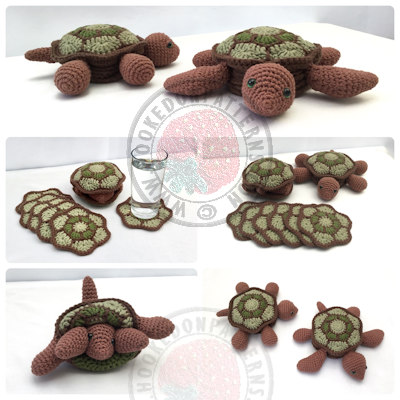 Crochet Turtle Pattern - Coasters
