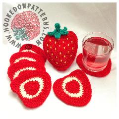 Strawberry Coaster Set Crochet Pattern