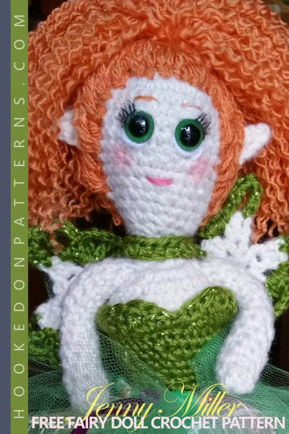 Free Fairy Doll Crochet Pattern - A pose-able doll, with flexible arms and legs. Your fairy can sit, stand, or wrap her arms around anything you like. Of course, you can choose to omit the wire limb joints to make a basic doll instead. A St. Patrick's Day free crochet pattern. #fairy #crochet #crochetdoll