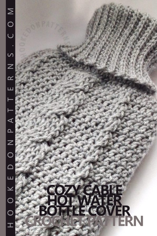 Cozy Cable Hot Water Bottle Cover Crochet Pattern. A braided cable stitch design hot water bottle cover with ribbed stretch neck fitting.