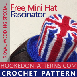 6b611aa7e3fc4 Crochet Union Jack Fascinator Free Pattern from Hooked On Patterns.  Celebrate the Royal Wedding with
