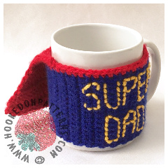 Father's Day Crochet Gift Free Super Dad Mug Cozy Crochet Pattern