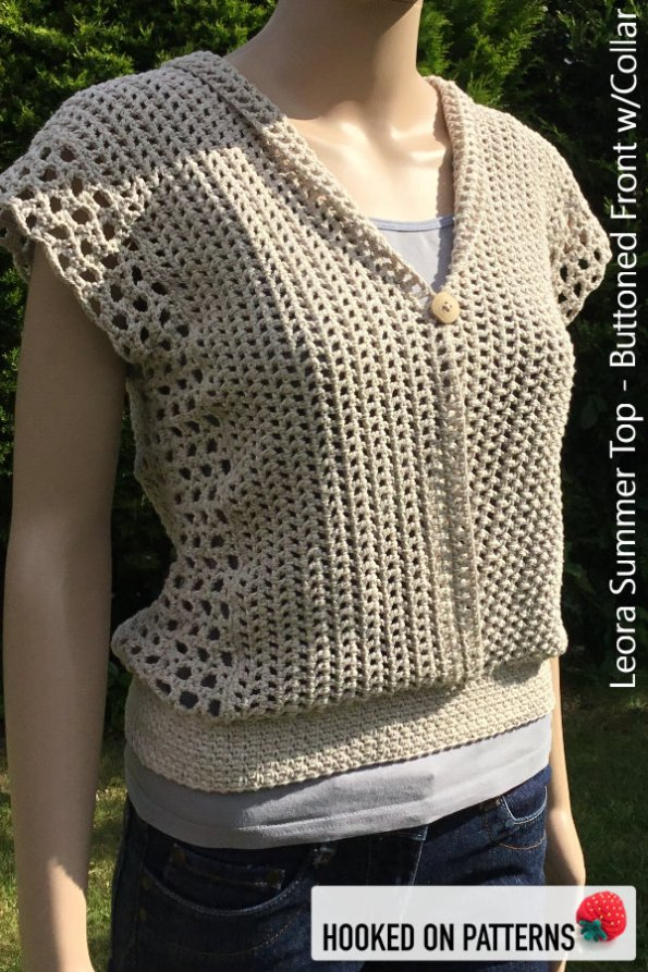 Crochet Summer Top Pattern - Versatile Vest - Leora Summer Top Crochet Pattern - Multiple Style Options - Buttoned Front with Folded Collar