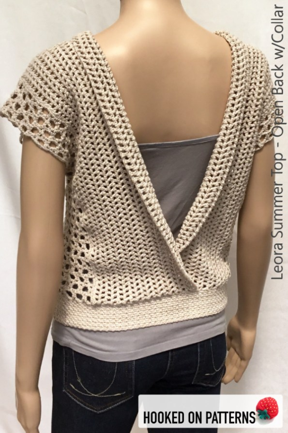 Leora Summer Top Crochet Pattern - Open Back with Folded Collar