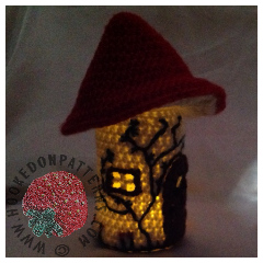 Toadstool Fairy House Night Light Crochet Pattern