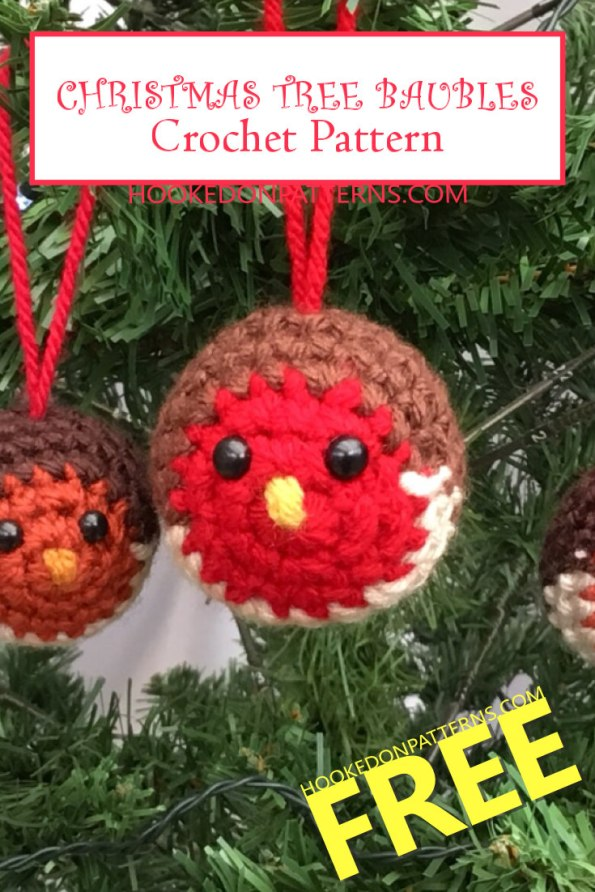 Free Christmas Tree Decorations Crochet Pattern - Baubles Robin