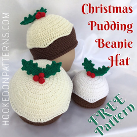 Free Crochet Christmas Pudding Beanie Hat Pattern Featured Image