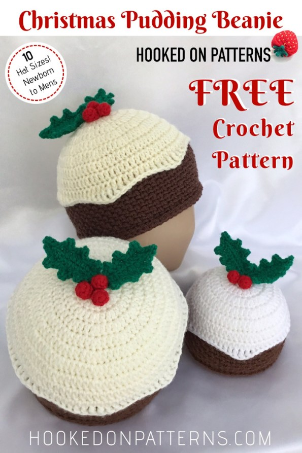 Crochet Christmas Hat Patterns.Free Crochet Christmas Pudding Beanie Hat Hooked On Patterns