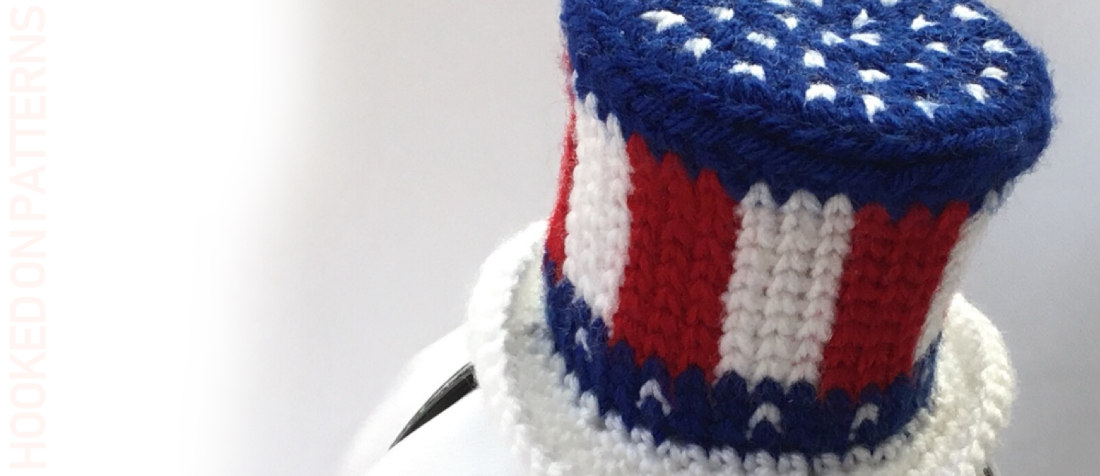 Free American Flag Mini Hat Fascinator Crochet Pattern