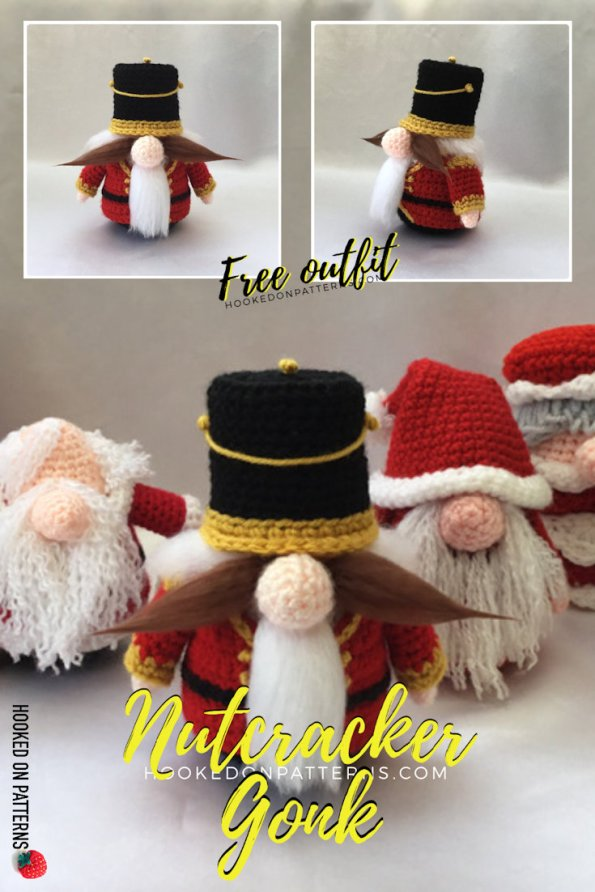Pinterest image for the Nutcracker Gonk Crochet Pattern. Free outfit to fit the original Santa Gonk pattern.