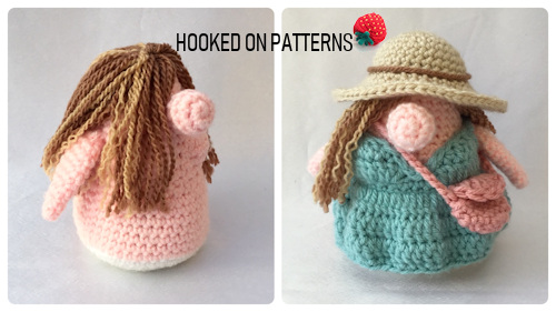 Vacation Gonk Crochet Pattern split image of the base doll and finished outfit
