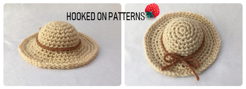 Vacation Gonk Crochet Pattern image of the Straw Sun Hat