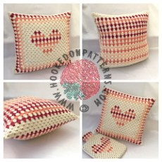 Free Cushion Cover Granny Heart Crochet Pattern