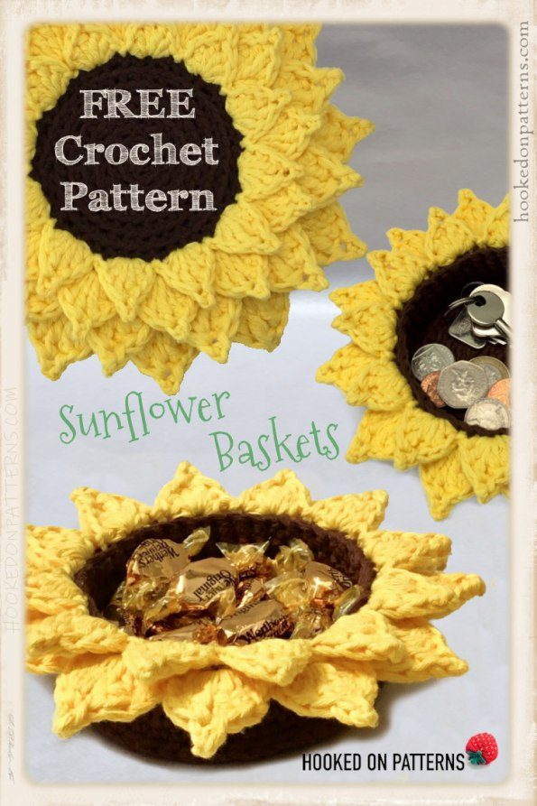 Free Sunflower Baskets Crochet Pattern Pinterest Graphic