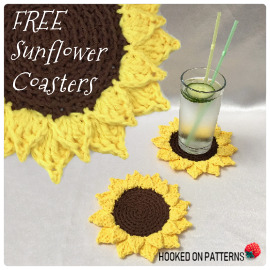 Free Sunflower Coasters Crochet Pattern Feature Image