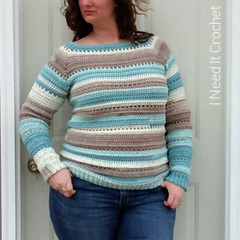 Easy Crochet Sweater Pattern: Spring Stripes Raglan Free Crochet Pattern