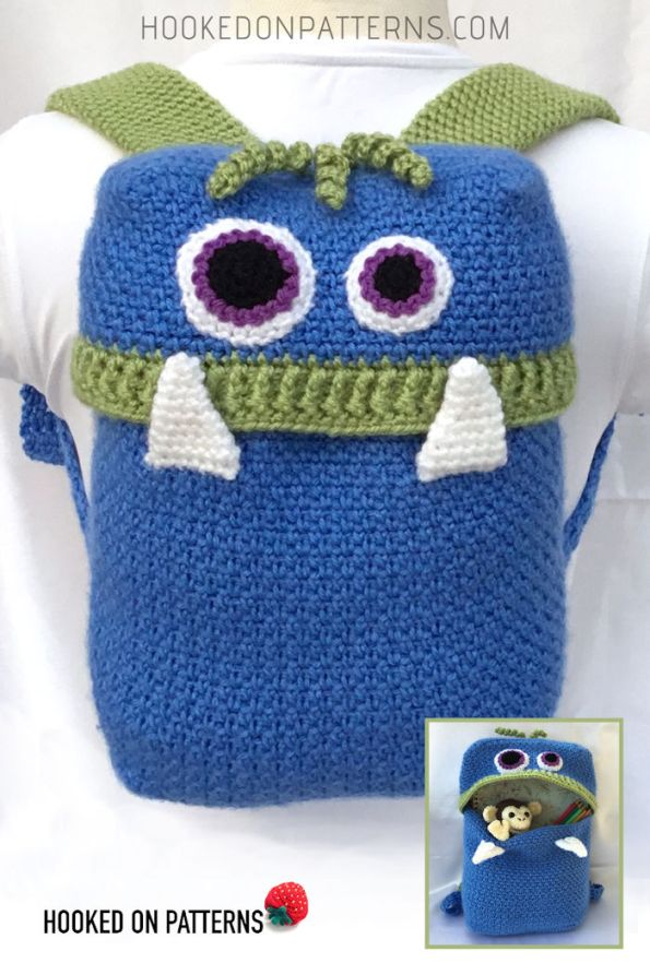 Knapsack Monsters Crochet Pattern Pin