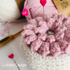 Popcorn Flower Pincushion Free Crochet Pattern