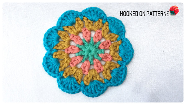 Happy Scrappy Coasters Free Crochet Pattern Round 4