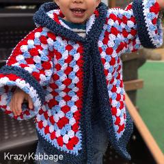 Spiral Hexagon Granny Square Hooded Cardigan Free Crochet Pattern