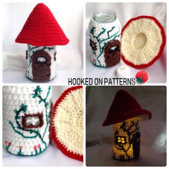 Toadstool Fairy House Jar Light Crochet Pattern