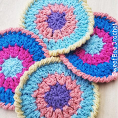 Happy Vibes Cotton Coaster Free Crochet Pattern