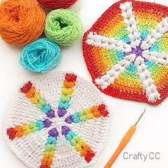 Rainbow Puff Hexagon Free Crochet Pattern