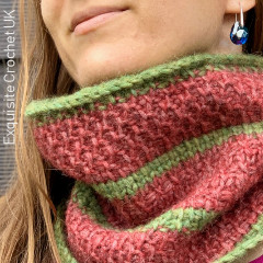 Tunisian Watermelon Cowl Free Crochet Pattern