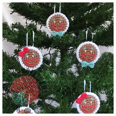 Free Gingerbread Smilies Christmas Tree Ornament Crochet Pattern