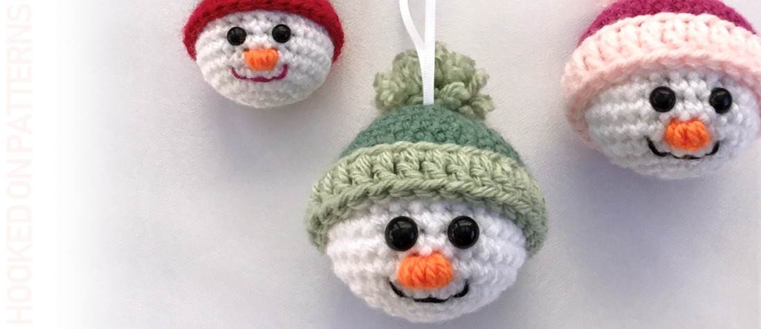 Free Crochet Snowman Baubles Pattern Featured Image