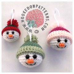 Crochet Snowman Baubles Pattern