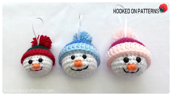 Free Crochet Snowman Baubles Pattern - Different sizes