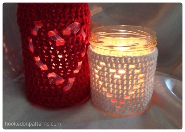 Heart Mason Jar Free Crochet Pattern - Candle covers