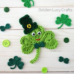 Happy Shamrock Applique Free Crochet Pattern