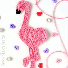 Heart Flamingo Applique Free Crochet Pattern